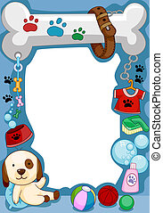 Dog Frame - Frame Design Featuring a Dog and Other Random...