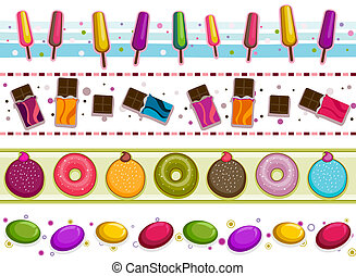Sweets Borders - Four Border Designs of Various Sweets and...