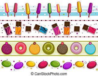 słodycze, brzegi