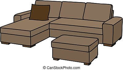 Big beige couch - Hand drawing of a big beige couch