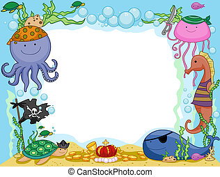 Pirate Frame - Frame Design Featuring Pirate Animals...