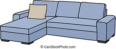 Light blue couch - Hand drawing of a comfortable big light...