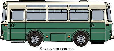 Old green bus - Hand drawing of an old green and cream bus