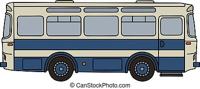 Retro blue bus - Hand drawing of a retro blue and white bus