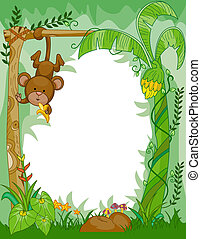 Monkey Frame - Frame Design Featuring a Monkey Eating...
