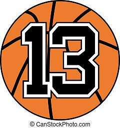 13 basket symbol - basketball ball with the number 13