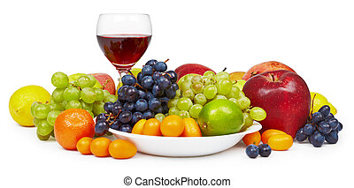 Big still-life with fruit and wine glass - The big...