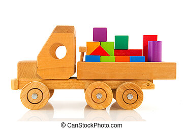 wooden toy car with colorful blocks - Old wooden toy car...
