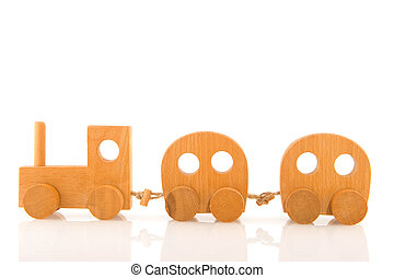 Wooden toy train - wooden toy locomotive with wagons...