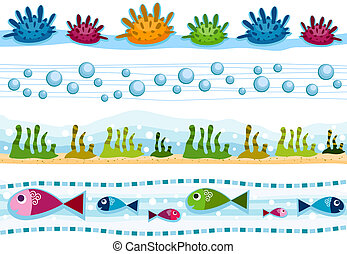 Underwater Borders - Four Border Designs Featuring...