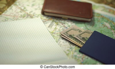 girl makes notes for vacation close up