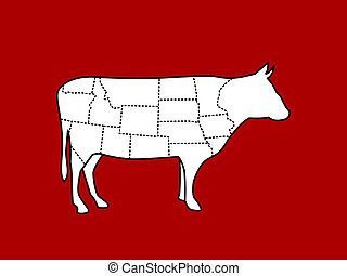 slices of cow body vector on red background