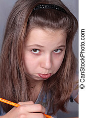 Teenage girl 12-13 years old displeased