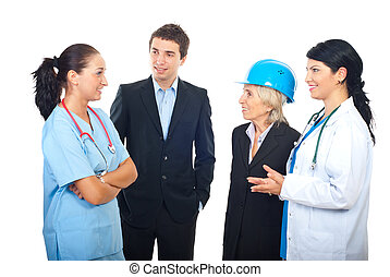 Different workers having conversation