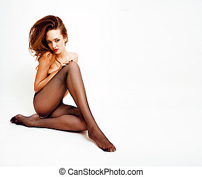 Sexy young real woman in black pantyhose and lingerie, red...