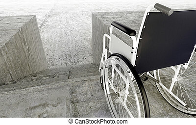 Architectural barriers - Wheelchair in front an...