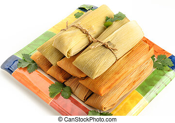 hecho, mexicano,  Tamales, maíz, aislado, pollo, blanco