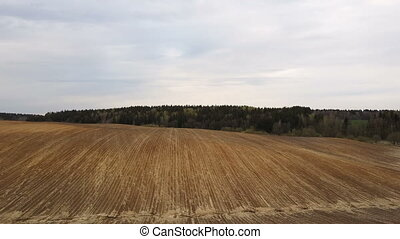 Aerial view of the field after harvesting. Countryside...