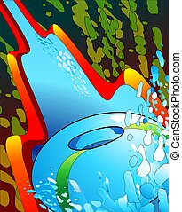 water slide - illustration of sliding down a water slide...