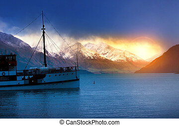 beautifulf scenic of lake wakatipu most popular traveling...
