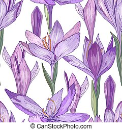 Seamless pattern with cute growing crocuses. Endless texture...