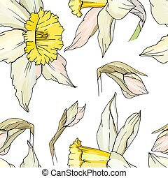 Seamless floral decorative pattern with white daffodils....
