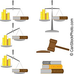 Print - Set of balance with money (gold coins) and lawbook....