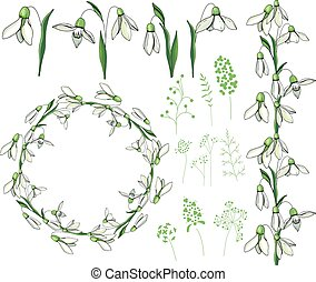 Round frame with pretty white snowdrops. Festive floral...
