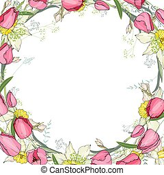Greeting card with round frame made of tulips and daffodils. Pink,yellow and red flowers and space for test