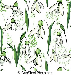 Seamless floral decorative pattern with snowdrops. Endless...