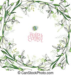 Round frame with pretty snowdrops. Calligraphy phrase Happy...