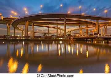Twilight sky over Highway interchange river front,...