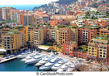 Aerial view of the harbor of Monaco - View of the harbor of...