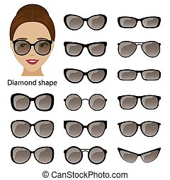 Spectacle frames and diamond face