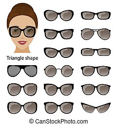 Spectacle frames and triangular face