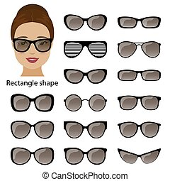 Spectacle frames and rectangle face