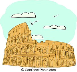 Great Colosseum, Rome, Italy. vector illustration for...