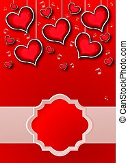Background with red Hearts, illustration