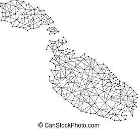 Map of Malta from polygonal black lines and dots of vector...