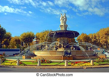 La Rotonde fountain, center of Aix-en-Provence, south of...