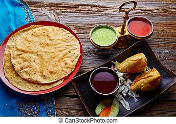 Samosas with Papadam red green sauces - Samosa with Papadam...