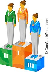 Isometric women champions on pedestal with medals - Women...