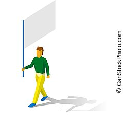 Isometric flag bearer with blank standar on white background...