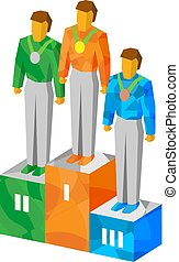 Isometric champions on pedestal with medals - Sport...