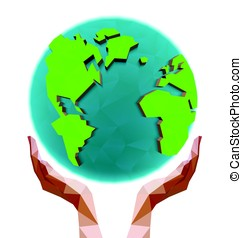 Polygonal hands holding the polygon globe. Day of the Earth....