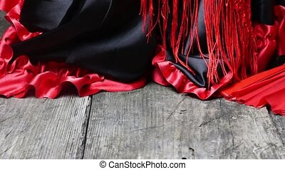 Clothing for Flamenco with red fan - Moving camera footage...