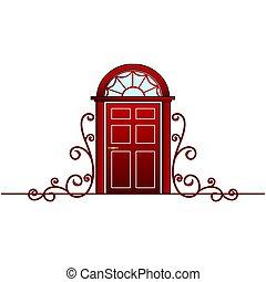 Red door with vine