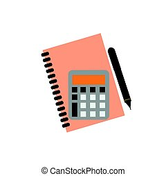 Planner notebook vector illustration mathematics business calculator technology vector icon button