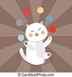 Circus cat vector cheerful illustration for kids with little domestic cartoon animals playing mammal
