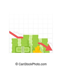 Icon pile of cash red recession graph with downward arrow. Green dollar and gold coins. Vector illustration